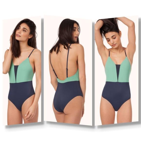 8073449b75f Lively Other - SALE NWOT LIVELY V one piece swimsuit mint navy L